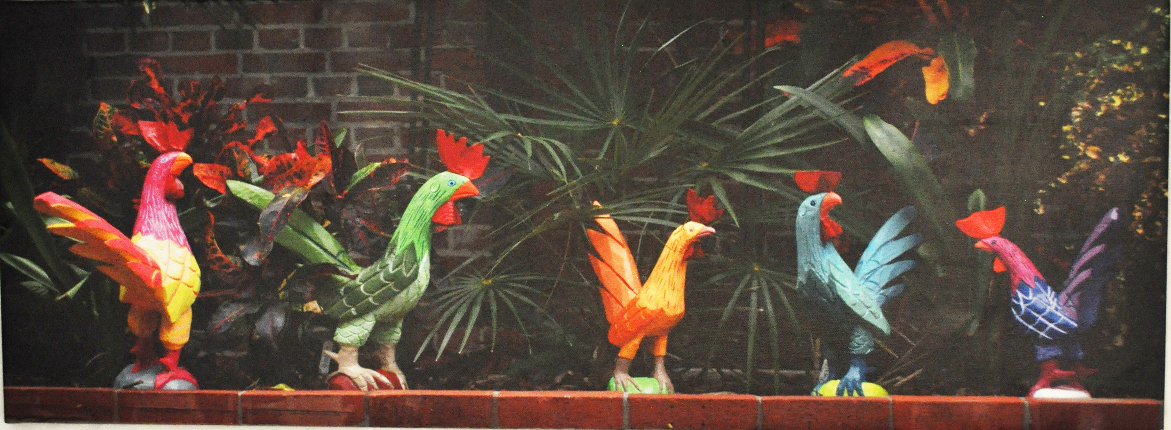 Roosters on a ledge